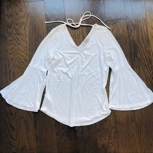 LOFT White Bell Sleeve Knit Top Tie Back | XS P